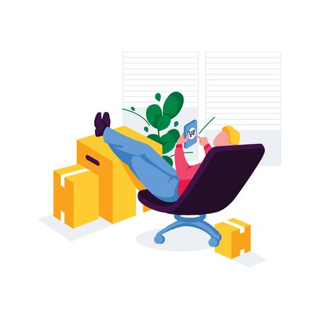 Man sitting on chair and uses smartphone. Male character shopping online through mobile store. Concept shopping from home. Buyer order parcel. E-commerce, internet technology. Flat vector illustration