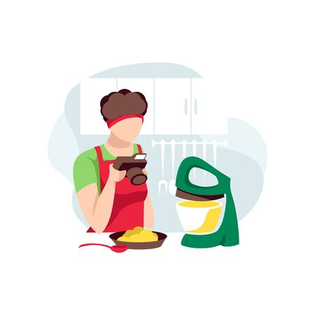 Woman photographs food for blog. Cooking coach preparing at home. Food blogger on kitchen, isolated on white background. Female character records online recipe for followers. Flat vector illustration