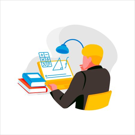 Male character studying mathematics online. Concept e-learning and education via internet.Man learns on computer isolated on white background. Student at university or college.Flat vector illustration