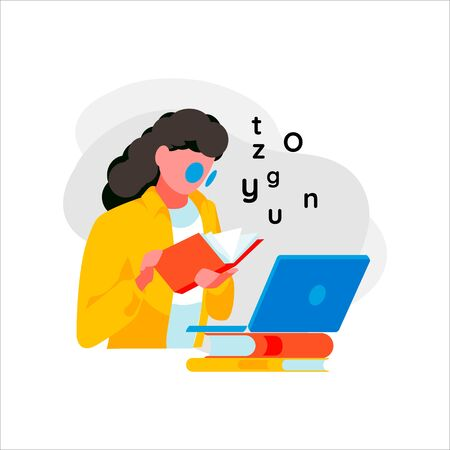 Woman reads book. Female character studying, isolated on white background. Concept of e-learning,digital training and online education. Student receives knowledge via Internet.Flat vector illustration