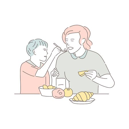 Mother and son sitting at the table and eating. Lovely woman with child eats dishes in restaurant, isolated on white. Motherhood portrait. People enjoy spending time together. Flat vector illustration Illustration
