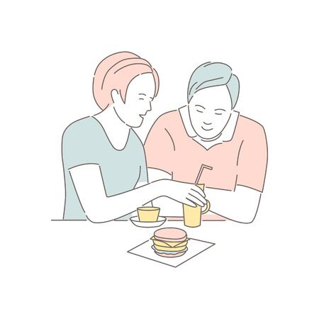 Man and woman eating fast food at cafeteria. Love couple spending time together, isolated on white. Lovers people sitting, talking and having dinner burgers and drinking soda. Flat vector illustration
