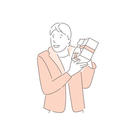 Happy male character with gift. Smiling man holds gift box with ribbon, isolated on white background. Holiday surprise. Giving present on birthday or christmas. Line art style.Flat vector illustration Illustration