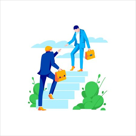 Two businessmen helping and growing together. Concept of development, motivation, success, achievement goal. Cartoon male characters go up stairs, isolated on white background.Flat vector illustration Illustration
