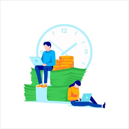 Business people sitting and working on laptop. Effective and productive teamwork, collective work, business. Concept of achievement goal, development, inspiration, motivation. Flat vector illustration Illustration