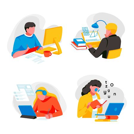 People study online at home. Online education and e-learning. Set of students, distance internet learning. Collection of different young persons studying on computer. Trendy flat vector illustration