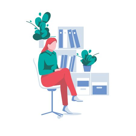 Cute girl sits on chair in office. Business woman works as an clerk or secretary. Cartoon character with crossing legs, isolated on white background. Employee,worker or boss. Flat vector illustration