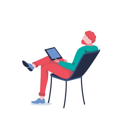Freelancer sits on chair and working. Businessman works on tablet, isolated on white. Male character, manager or employee. Work at home. Entertainment with gadget in hand. Flat vector illustration Illustration