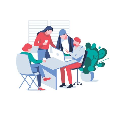 Business team discussions new project, isolated on white background. Creative group of people working together. Concept of teamwork, idea development and office situation. Flat vector illustration