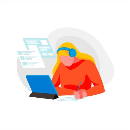 Student studying at home, isolated on a white background. Woman learning remotely. Concept of education and e-learning. Female character study in university or college online. Flat vector illustration Illustration