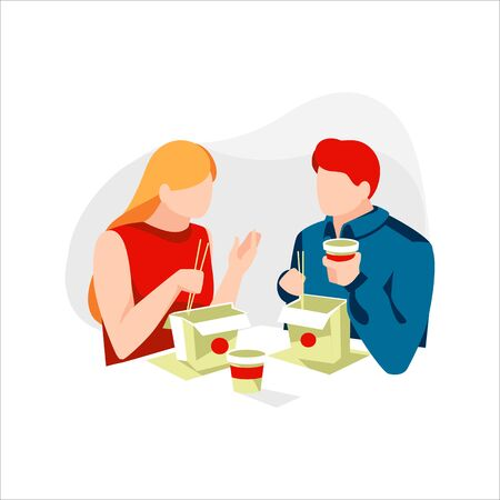People eat noodle or ramen instant with chopstick. Men and women having lunch in street food cafe. Cartoon characters try traditional chinese food and have conversation. Flat  illustration