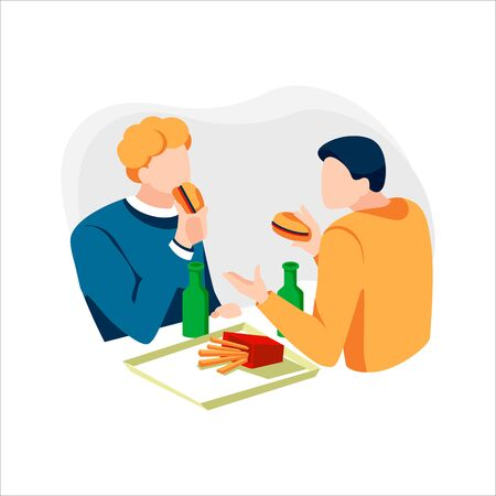 Two happy friends eating fast food meal in cafe. Men talking and having lunch burgers, fries and drinking beer. Male characters sitting in restaurant and have conversation. Flat  illustration  イラスト・ベクター素材