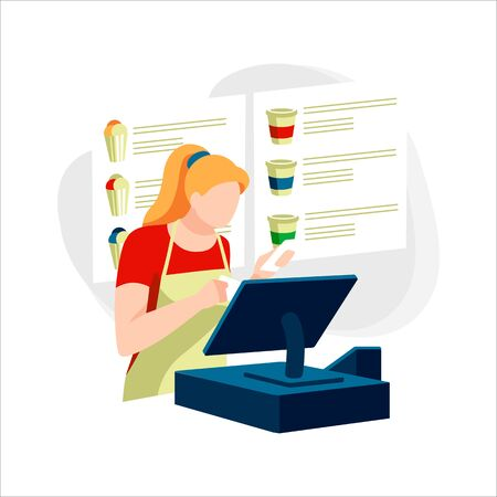 Seller with cash register at fast food restaurant. Female character in apron at workplace in cafe. Cute woman works in catering. Different types of coffee and food on scoreboard. Vector illustration