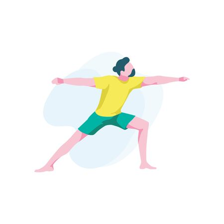 Man demonstrates virabhadrasana 2. Flexible male character practicing yoga asana. Guy stands in a warrior pose, isolated on white background. Healthy lifestyle, home training. Flat vector illustration