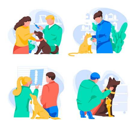Pet treatment collection. Different veterinarians examine and treat animals. Owners brought for inspection pets. Animal protection set. Doctors work in veterinary clinic. Flat vector illustration Illustration