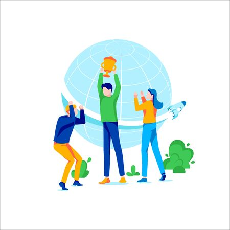 Group of young people with champion cup. Business people celebrating victory and rejoicing together. Concept of successful teamwork, motivation and achievement goal. Trendy flat vector illustration