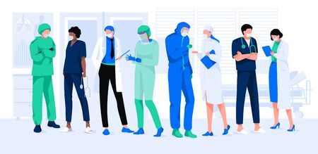 Set of doctors and nurses in hospital or clinic. Men and women in protective uniform and masks. Teamwork concept. Cartoon medical people or staff working in different poses. Flat  illustration