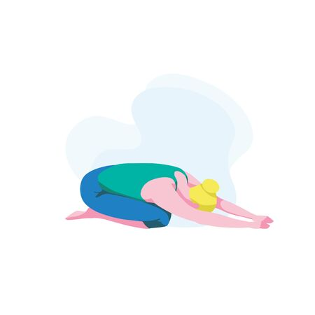 Sporty girl doing balasana or child pose, hatha yoga. Cute woman practicing yoga, isolated on white background. Workout, fitness and physical exercise. Relaxing and stretching.Flat vector illustration
