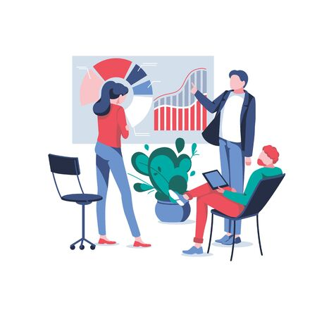 Business people discuss statistic and interact with graphs. Concept of teamwork, collaboration, partnership, conference. Manager presenting company financial report. Trendy flat vector illustration Vectores