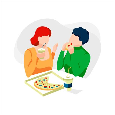 Cute couple eating tasty pizza together. People sitting with delicious food in street cafe. People enjoy traditional Italian meal in restaurant. Characters eating and chatting.Flat vector illustration