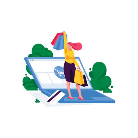 Happy business woman stands with purchases on laptop. Online shopping and mobile store. E-commerce and e-shopping concept. Female character buying online from home. Internet shop. Vector illustration Vettoriali