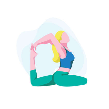 Woman sits in rajakapotasana posture and meditate. Flexible girl demonstrating king pigeon pose. Female character doing yoga or pilates. Stretching exercises, home training. Flat vector illustration