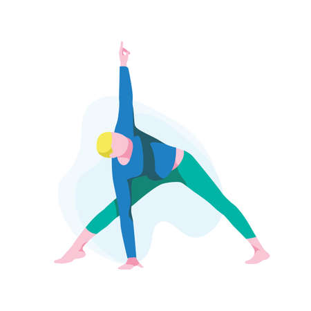 Man practicing yoga, Guy standing in triangle position. Male athlete character in sportswear performing utthita trikonasana pose. Healthy lifestyle and relaxation. Flat design vector illustration  イラスト・ベクター素材