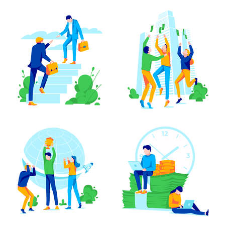 Office team success motivation and ambition Set. Successful business people climbing corporate ladder, achieving success, celebrating victory. Financial profit, career growth. Flat vector illustration