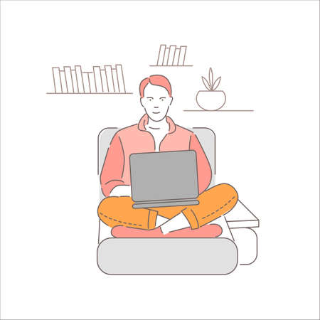 Male freelancer work remotely at home. Businessman working in bed on computer,isolated on white background. Cartoon man sits with laptop and studying. Online education. Flat vector illustration Illustration