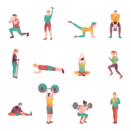 People in the sport set, flat vector illustration. Man and woman in the gym are engaged in recreational exercises. Adult athletes at sporting events tournament isolated on a white background.