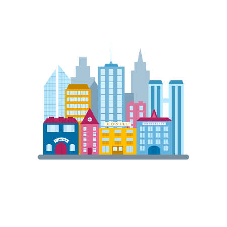 City buildings set, in flat vector style. Municipal buildings and architecture in the urban business district. A group of houses and skyscrapers in megapolis isolated on a white background.