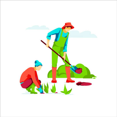 People working in garden or farm. Man digging ground with shovel, woman planting seedlings. Organic gardening, eco farming and agriculture concept flat vector illustration Stock Illustratie