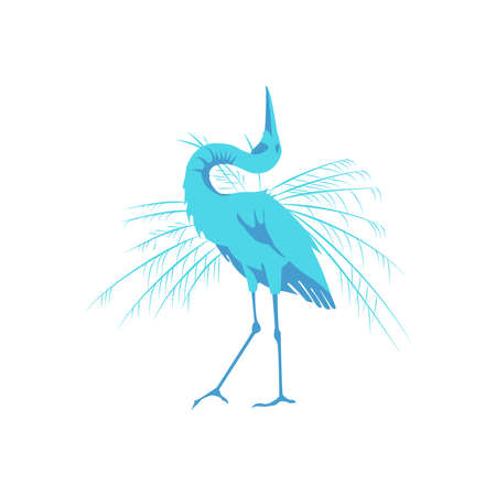 Great blue heron beautiful bird. Tropical nature wildlife design element cartoon vector illustration isolated on white background 向量圖像