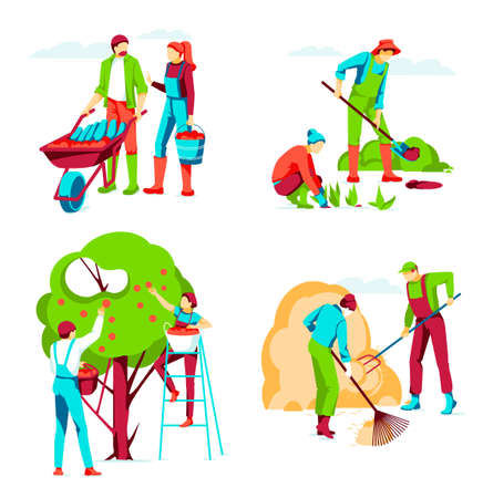 People working and harvesting in garden. Farm workers planting seedlings, picking apples, moving hay in haystack. Organic gardening, eco farming and agriculture concept flat vector illustration