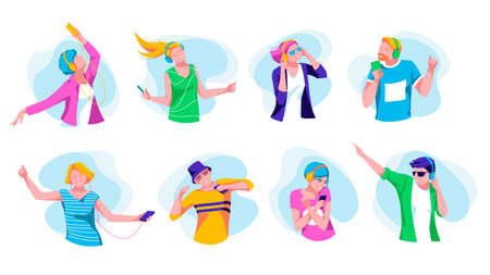 People enjoying of listening music set. Joyful teenagers listen music with headphones and smartphones. Girls and boys wearing fashionable clothes dancing and relaxing flat vector illustration