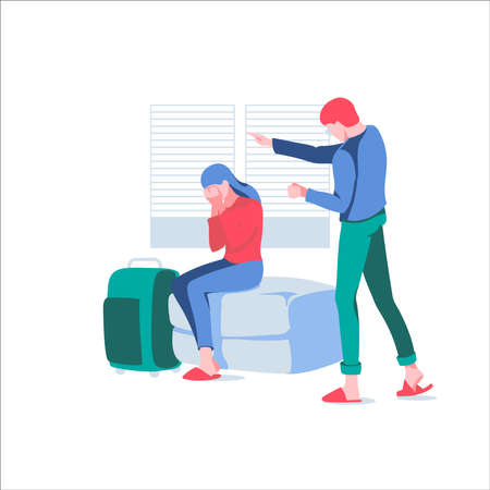 Husband shouting at wife. Man offending woman while she is crying sitting on couch with suitcase. Family conflict between spouses, divorce, relationship problems cartoon vector illustration Vettoriali