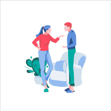 Couple yelling at each other. Husband and wife characters arguing and quarreling. Family conflict between spouses, relationship problems, divorce cartoon vector illustration