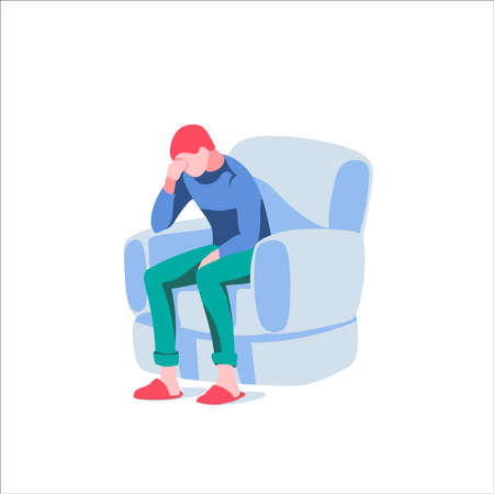 Upset man sitting on armchair. Despaired man sitting alone at home. Stress, depression, bad mood, breaking up, divorce cartoon vector illustration isolated on white background