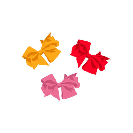 Colorful satin bows set. Decorative gift bows of tied ribbons, creative design element cartoon vector illustration isolated on white background