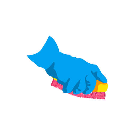 Hand cleaning with sponge. Human hand in blue rubber glove with cleaning tool. Cleaning service, housework, hygiene cleanup chores concept cartoon vector illustration isolated on white background