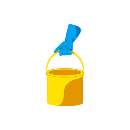Hand in rubber glove holding bucket. Cleaning service, housework, hygiene cleanup chores concept cartoon vector illustration isolated on white background