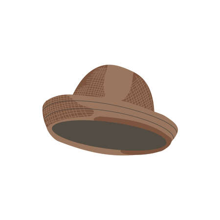 Summer panama hat. Straw hat, natural material headwear, seasonal accessory garment cartoon vector illustration isolated on white background Stock fotó - 155304001