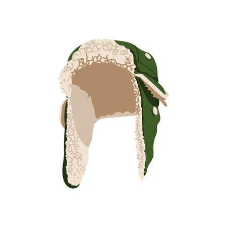 Green trapper cap hat. Ear flapped winter fur hat, warm headwear. Unisex accessory garment cartoon vector illustration isolated on white background Ilustracje wektorowe