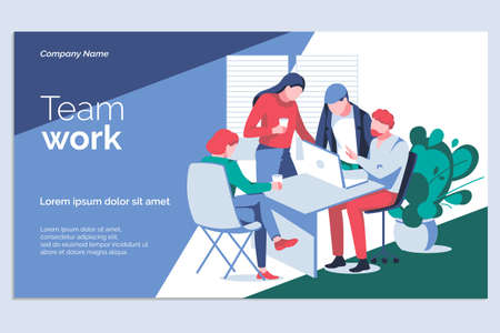 Team work banner template. Business team working on project together at desk with laptop. Business meeting, brainstorming, teamwork, interaction at business process flat vector illustration  イラスト・ベクター素材