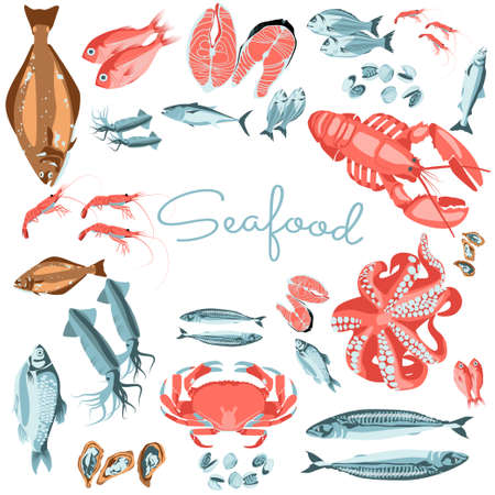 Seafood banner template. Organic natural healthy nutritious fresh marine fishes and creatures. Fish market, seafood products, packaging design cartoon vector illustration  イラスト・ベクター素材
