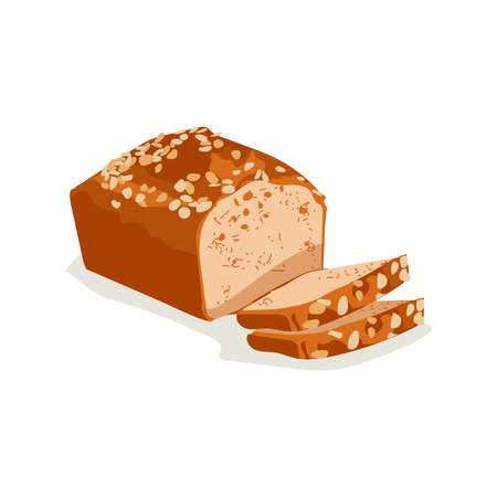 Whole grain sliced wheat bread. Freshly baked nutritious pastry product flat vector illustration on white background