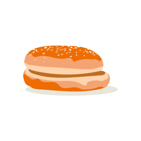 Round bun with sesame seeds. Freshly baked wheat bread for burgers without stuffing. Traditional fast food dish design element flat vector illustration on white background  イラスト・ベクター素材