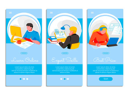 Learn online onboard screen templates set. Expert skills, best price mobile application page templates. Distant tutor, online school, digital library, e-learning concept flat vector illustration