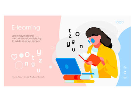 E-learning banner template. Girl reading book sitting in front of laptop computer screen. Distant tutor, distant school or digital library. Online education concept. flat vector illustration  イラスト・ベクター素材