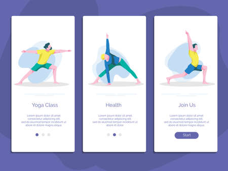 Yoga class, school, studio onboarding page screen set. Men doing sports exercise in different poses website, mobile app, web page template. Healthy lifestyle concept cartoon vector illustration